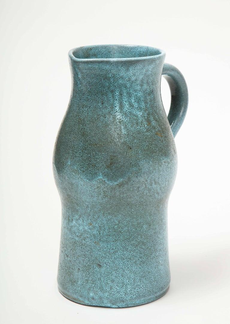 Mid-20th Century Signed Atelier Accolay Tall Blue Ceramic Milk Pitcher, France, circa 1960s
