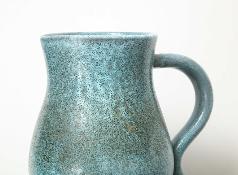 Signed Atelier Accolay Tall Blue Ceramic Milk Pitcher, France, circa 1960s 4
