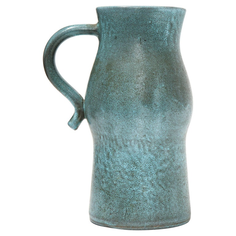 Signed Atelier Accolay Tall Blue Ceramic Milk Pitcher, France, circa 1960s