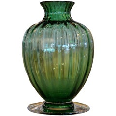 Signed Baccarat Emerald Green Crystal with Clear Stem Ribbed Baluster Vase