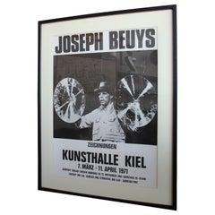 """Signed Beuys Exhibition Poster """"Joseph Beuys. Zeichnungen Kunstahalle Kiel"""" 1971"""