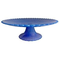 Signed Blue Murano Cake Pedestal Plate