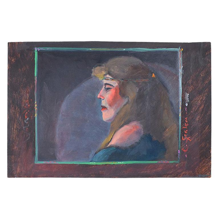Signed Bohemian Landscape Portrait Painting of a Hippie Woman