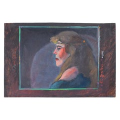 Signed Bohemian Landscape Portrait Painting of a Hippie Woman