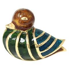 Signed Boucheron Enamel Duck Pin circa 1960 in 18k