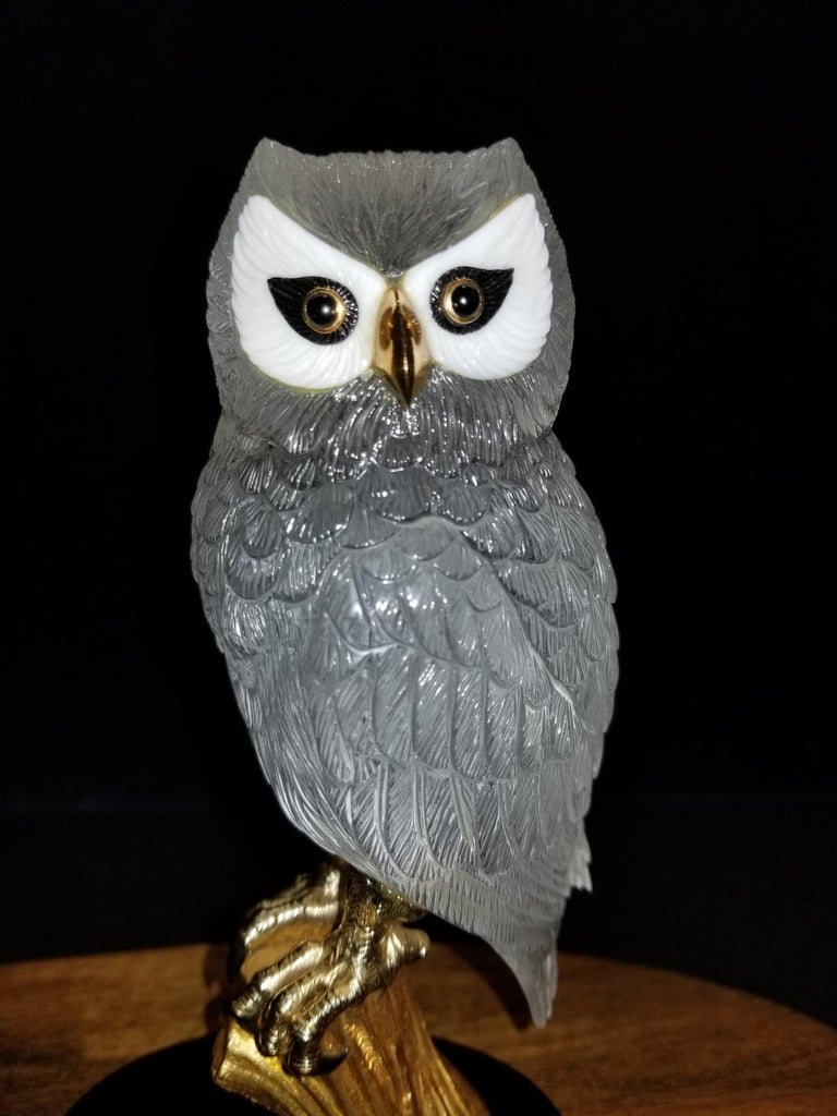 Modern Signed Boucheron Rock Crystal and 18k Gold Owl Statue with Gold and Onyx Eyes