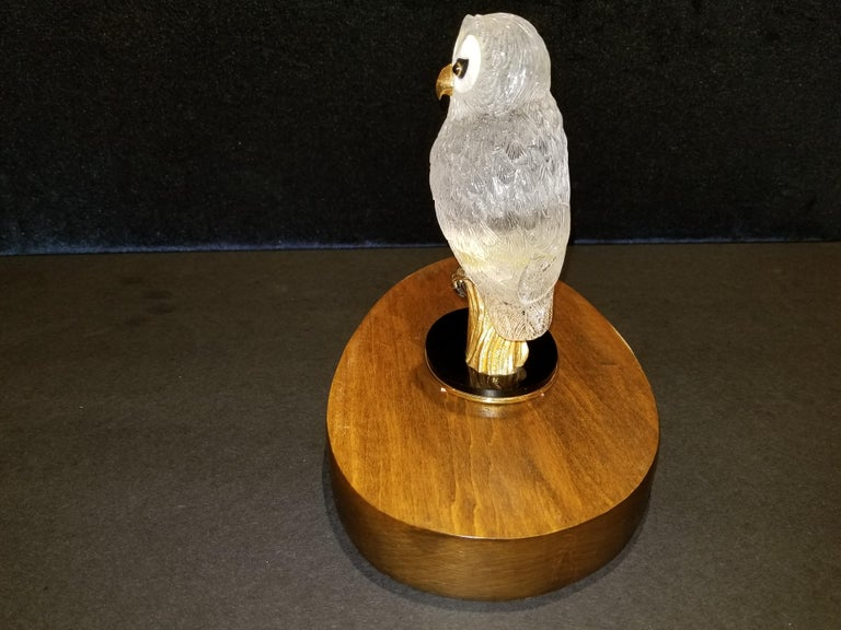 Hand-Carved Signed Boucheron Rock Crystal and 18k Gold Owl Statue with Gold and Onyx Eyes