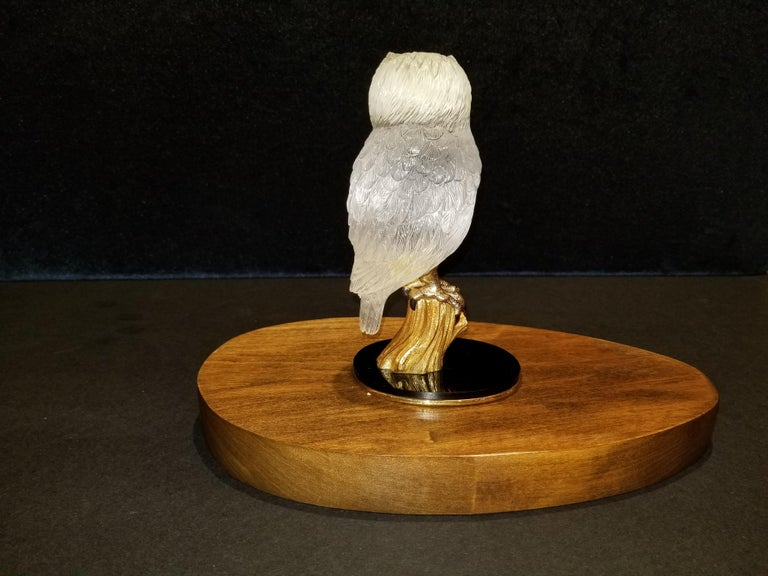 Signed Boucheron Rock Crystal and 18k Gold Owl Statue with Gold and Onyx Eyes 1