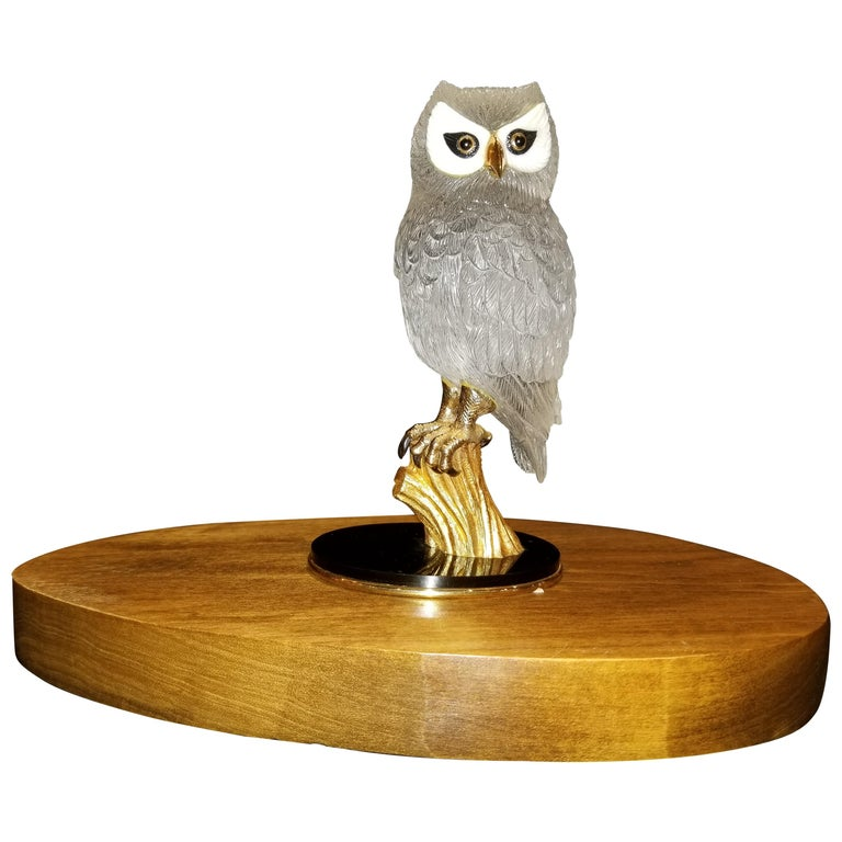 Signed Boucheron Rock Crystal and 18k Gold Owl Statue with Gold and Onyx Eyes