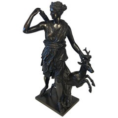 Signed Bronze Bearing F.Barbedienne Foundeur, Diana the Huntress