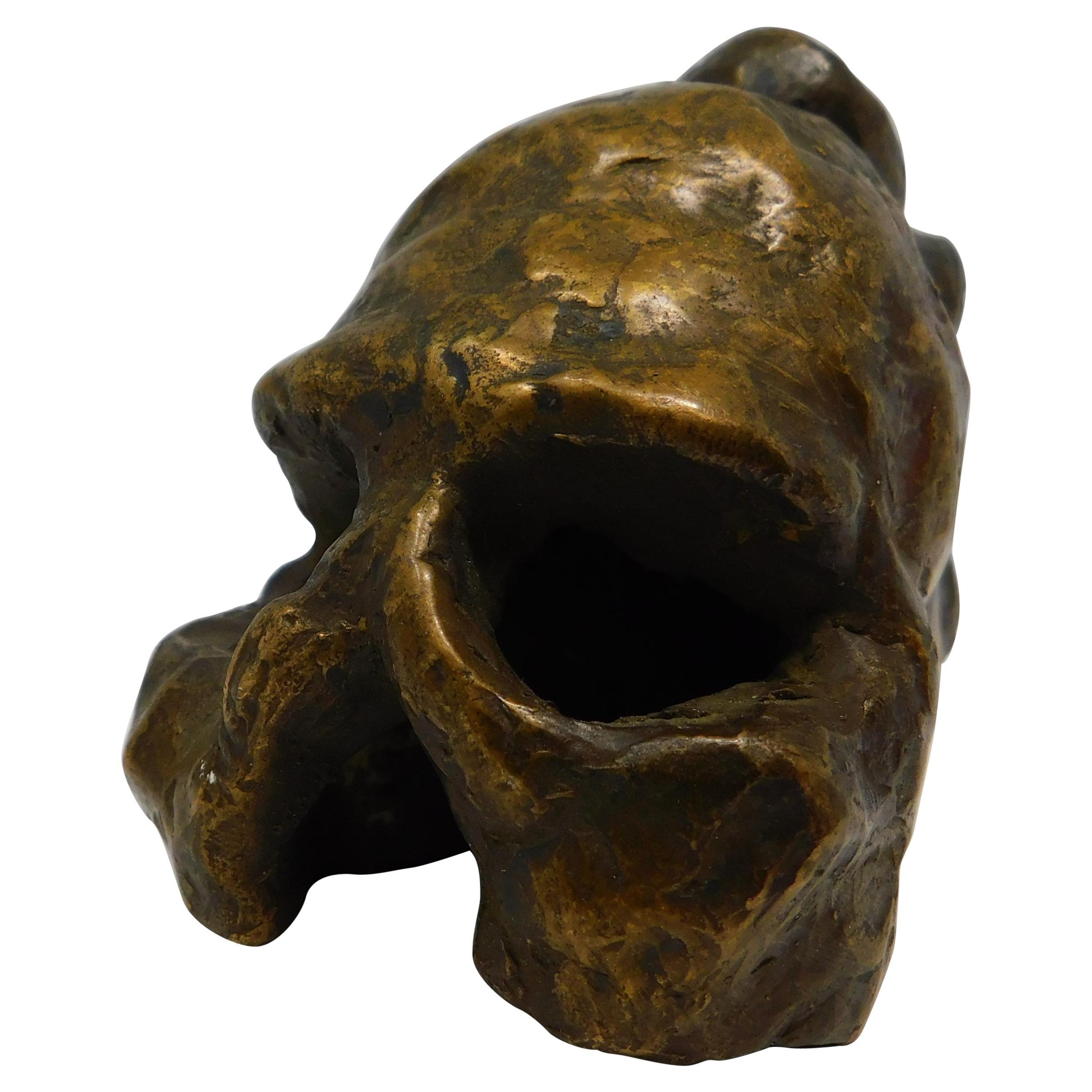Signed Bronze Brutalist Skull Sculpture