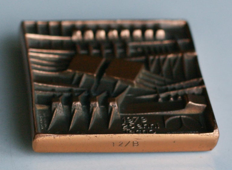 Signed Bronze Plaque by Arnaldo Pomodoro for Tecno In Good Condition For Sale In Dronten, NL