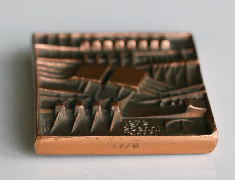 Late 20th Century Signed Bronze Plaque by Arnaldo Pomodoro for Tecno For Sale