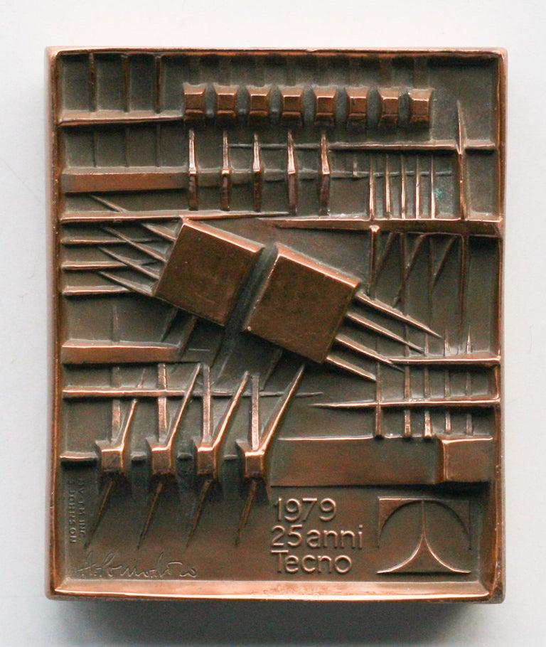 Signed Bronze Plaque by Arnaldo Pomodoro for Tecno For Sale 1