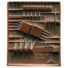 Signed Bronze Plaque by Arnaldo Pomodoro for Tecno