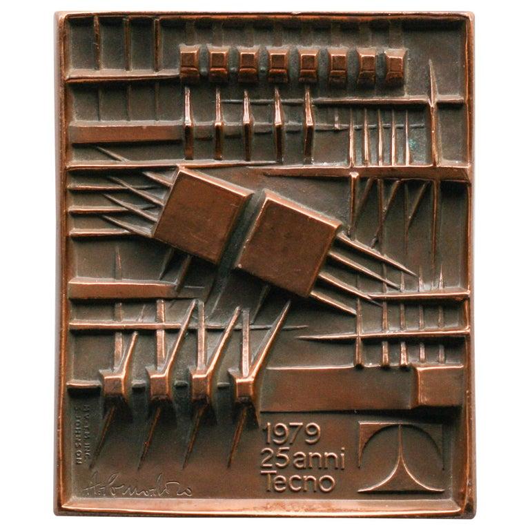 Signed Bronze Plaque by Arnaldo Pomodoro for Tecno For Sale