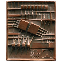 Signed Bronze Plaque by Arnaldo Pomodoro for Tecno