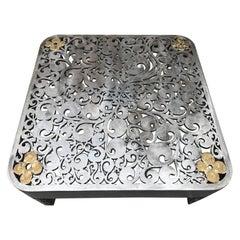 Signed Brutalist Cut Steel Coffee Table