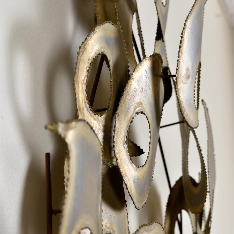 American Signed Brutalist Torch Cut Metal Wall Sculpture For Sale