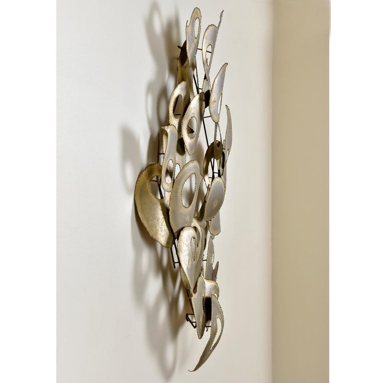 Signed Brutalist Torch Cut Metal Wall Sculpture In Excellent Condition For Sale In Chattanooga, TN