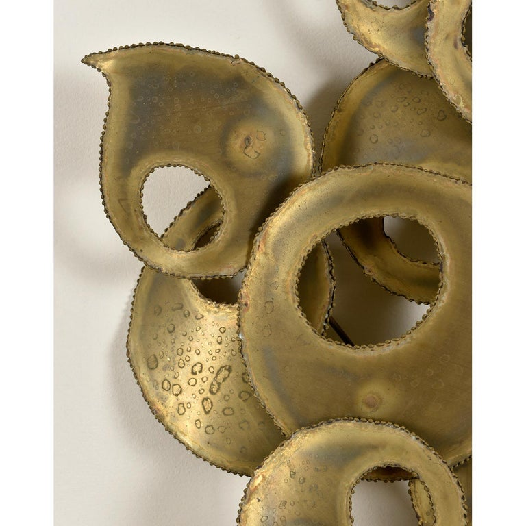 Late 20th Century Signed Brutalist Torch Cut Metal Wall Sculpture For Sale
