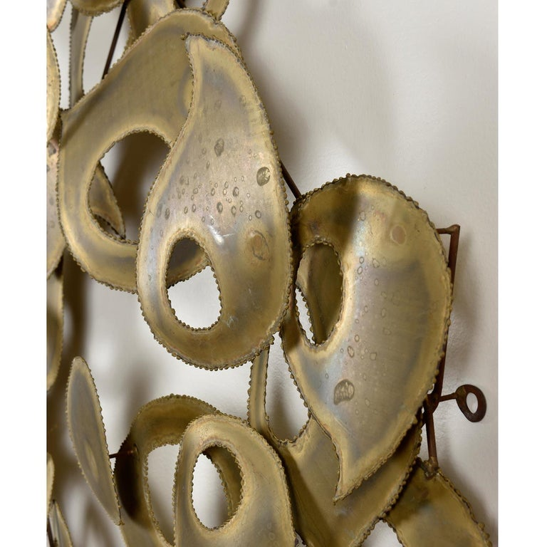 Signed Brutalist Torch Cut Metal Wall Sculpture For Sale 1