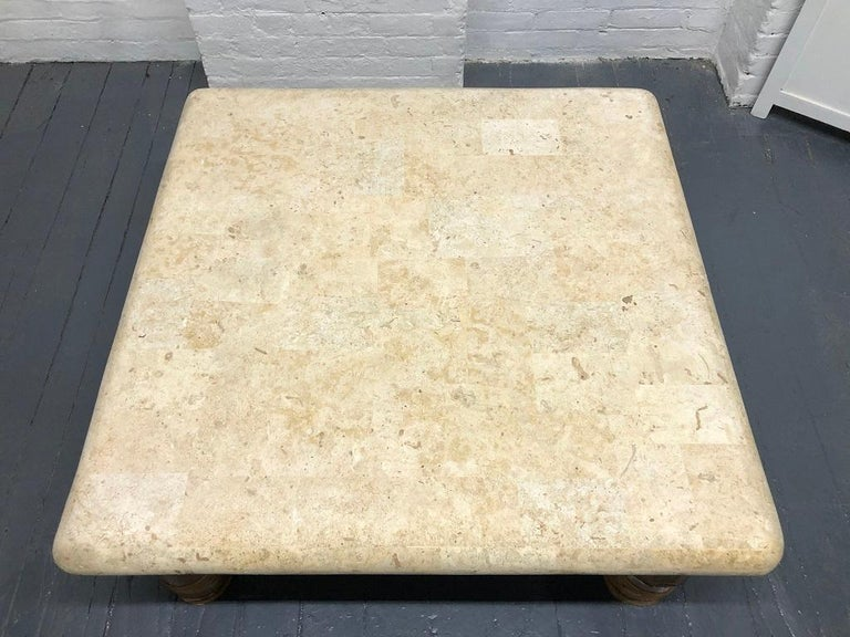 Signed Budji Layug Bamboo and Tessellated Stone Top Coffee Table In Good Condition For Sale In New York, NY