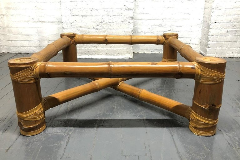 Signed Budji Layug Bamboo and Tessellated Stone Top Coffee Table For Sale 1