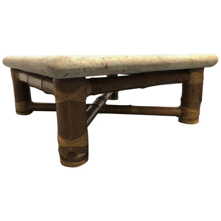 Signed Budji Layug Bamboo and Tessellated Stone Top Coffee Table For Sale