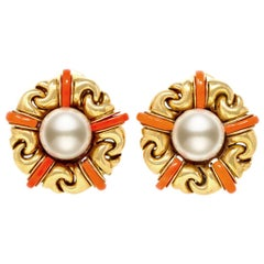 Bvlgari Pearl and Coral Ear-Clips in 18 Karat Yellow Gold