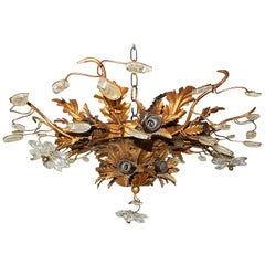 Signed by Maison Baguès Style 15 Light Flush Mount Flowers and Leaves Chandelier