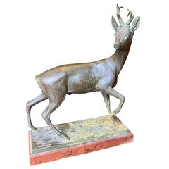 Signed C. Diller Cast Metal Statue of Stag / Deer, Late 19th-Early 20th Century