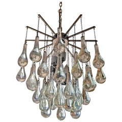 Signed Camer Glass Tear Drop Chandelier