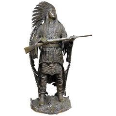 Signed Carl Kauba Bronze Indian Sculpture