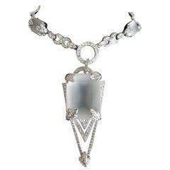 Signed Carlo Zini Designer Sparkling Crystal  Art Deco Style Jeweled Necklace