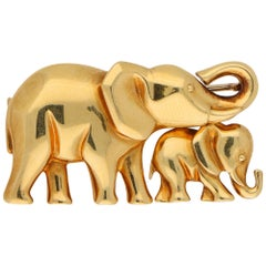 Cartier Elephant and Calf Brooch / Necklace Pendant Set in 18k Yellow Gold