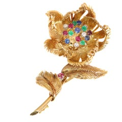 Signed Cartier Vintage trembleuse brooch moveable flower that opens/closes