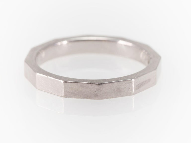 Signed Celine Octagonal Half Diamond and Platinum Wedding Band Ring For Sale 4
