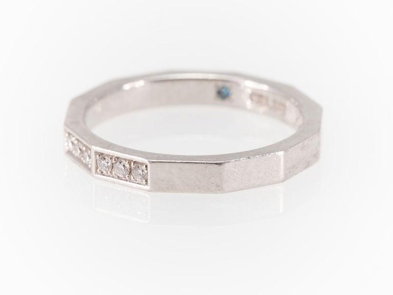 Signed Celine Octagonal Half Diamond and Platinum Wedding Band Ring For Sale 5