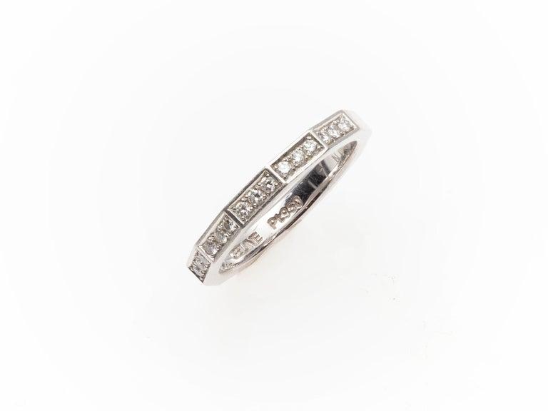 Modern Signed Celine Octagonal Half Diamond and Platinum Wedding Band Ring For Sale