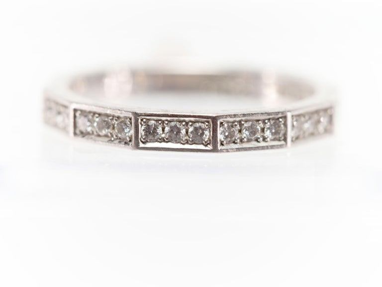 Round Cut Signed Celine Octagonal Half Diamond and Platinum Wedding Band Ring For Sale