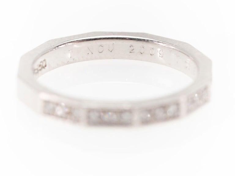Signed Celine Octagonal Half Diamond and Platinum Wedding Band Ring For Sale 1