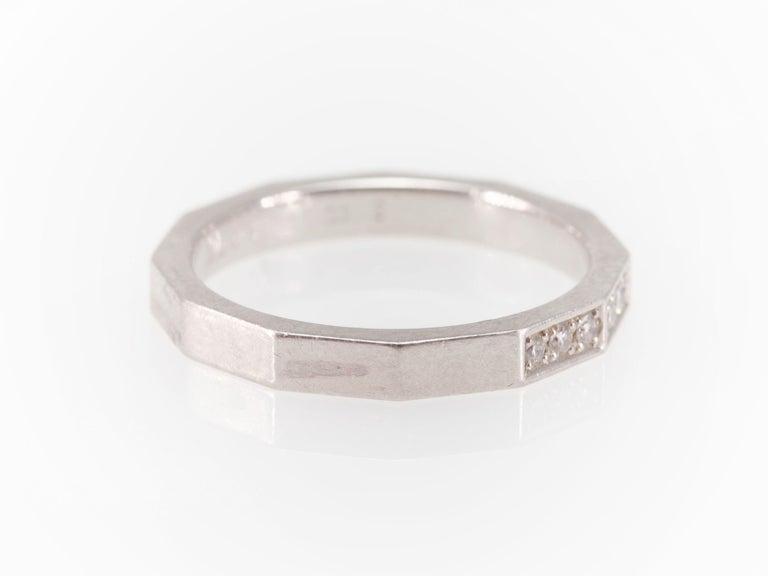 Signed Celine Octagonal Half Diamond and Platinum Wedding Band Ring For Sale 3