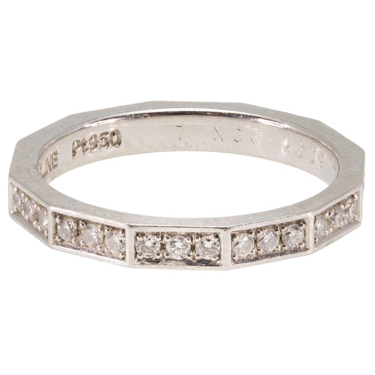 Signed Celine Octagonal Half Diamond and Platinum Wedding Band Ring For Sale