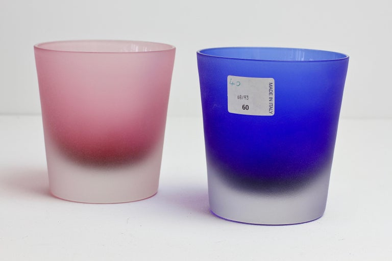 Italian Signed Cenedese Frosted Glass Scavo His and Her's Pink & Blue Colored Glasses For Sale