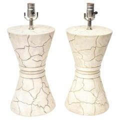 Signed Organic Modern Ceramic Lamps Pair of Vintage