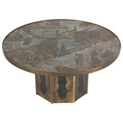 """Signed """"Chan"""" Coffee Table by Philip and Kelvin LaVerne, circa 1960s"""