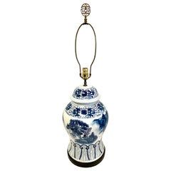 Signed Chapman Chinoiserie Blue and White Porcelain Lamp