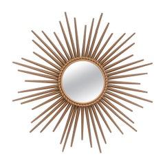 Signed Chaty Vallauris France Gold Finish Iron Sunburst Mirror Wall Mirror, 1970