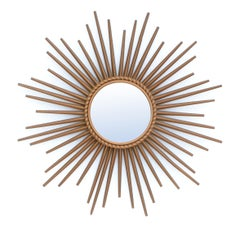 Signed CHATY Vallauris France Gold Finish Iron Sunburst Mirror Wall Mirror 1970